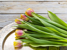 Tulips on a copper tray. Yellow red tulips on a copper tray Stock Photos