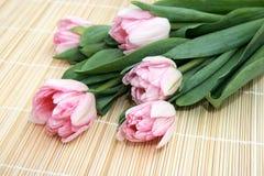 Tulips cor-de-rosa em um guardanapo da palha Imagem de Stock Royalty Free