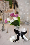 Tulips and crystal lamps Royalty Free Stock Images