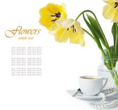 Tulips and a cup of coffee Royalty Free Stock Photography