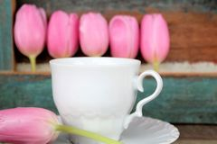 Tulips and cup and saucer, mother's day. Tulips and cup and saucer with painted wooden background, with space for text, for example in the cup Royalty Free Stock Photo