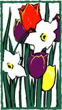 Tulips and Daffodils. Woodcut imitation Royalty Free Stock Photo