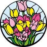 Tulips do vidro colorido. Imagem de Stock Royalty Free