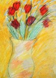 Tulips drawing Royalty Free Stock Image