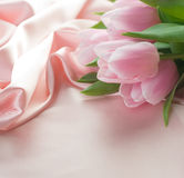 Tulips e seda Imagens de Stock Royalty Free