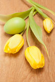 Tulips and Easter egg Royalty Free Stock Image