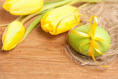 Tulips and Easter egg Royalty Free Stock Images