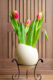 Tulips and easter egg Stock Photo