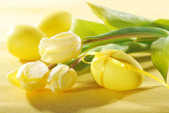 Tulips with easter egg Stock Photography