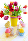 Tulips and easter eggs Stock Photo
