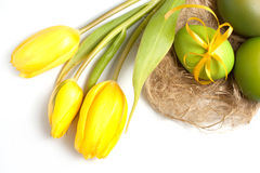 Tulips and Easter eggs Stock Photography