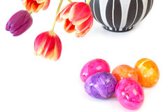 Tulips with easter eggs Royalty Free Stock Photos