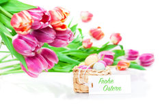 Tulips, Easter eggs, label Royalty Free Stock Photos