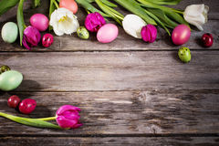 Tulips and easter eggs Royalty Free Stock Image