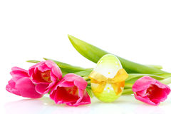Tulips and easter on white Stock Photos