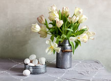 Tulips and Eggs Stock Photos
