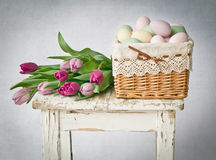Easter with tulips Stock Photos