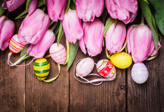 Tulips and eggs border Stock Photography