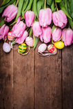 Tulips and eggs border Royalty Free Stock Photo