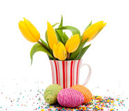 Tulips and eggs Royalty Free Stock Images