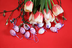 Tulips and eggs - eastertime Stock Images