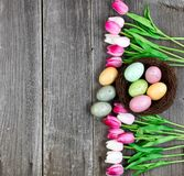 Tulips and eggs on vintage wooden planks for Easter Background Stock Images