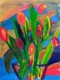 Tulips em uma pintura do vaso no acrílico Fotos de Stock
