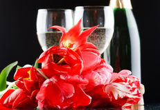 Tulips and fizz Stock Image