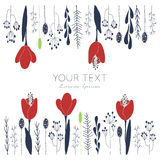 Tulips floral card. Hand drawn vector flower card template with space for your text. For greeting cards, invitations, wallpapers, backgrounds Royalty Free Stock Photography