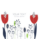 Tulips floral card. Hand drawn vector flower card template with space for your text. For greeting cards, invitations, wallpapers, backgrounds Royalty Free Stock Image