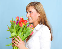 Tulips flower bunch woman royalty free stock images