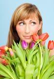 Tulips flower bunch woman Stock Photo