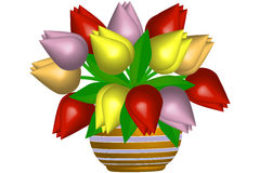 Tulips in flowerpot - illustration Stock Images