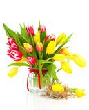 Tulips flowers with easter egg Royalty Free Stock Images