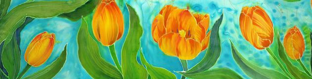 Tulips. Flowers, leaves, stems and buds . Use printed materials, signs, items, websites, maps, posters, postcards, packaging Stock Photo