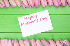 Tulips flowers on mothers day with greeting card Stock Photos