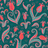 Tulips flowers seamless pattern Stock Images