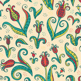 Tulips flowers seamless pattern Royalty Free Stock Photos
