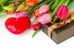 Tulips with gift box Stock Photo