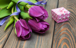 Tulips with gift box Stock Photography