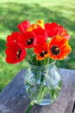 Tulips in a glass vase on garden table Stock Image