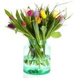 Tulips in green glass vase Stock Image