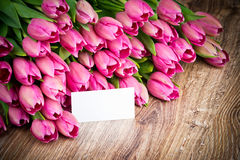 Tulips and a greeting card Royalty Free Stock Photography