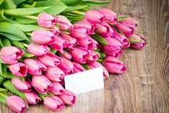 Tulips and a greeting card Royalty Free Stock Photo