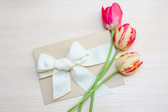 Tulips and greeting card with bow on a light background Royalty Free Stock Photo