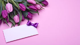 Tulips and greeting card on pink Stock Photo