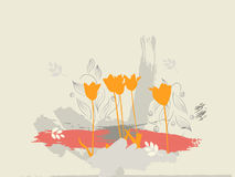 Tulips on the ground. Five tulips with custom made watercolor brushes Stock Photography