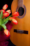 Tulips and guitar Stock Photos
