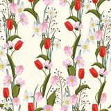 Tulips. Hand drawn seamless vector texture. Floral pattern with different kind of flowers. royalty free illustration