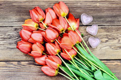 Tulips and a heart for a loved one Stock Photos
